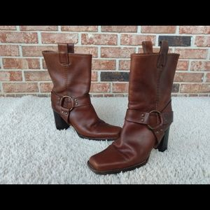 Michael Kors Brown Leather Square Heel Boot 7.5